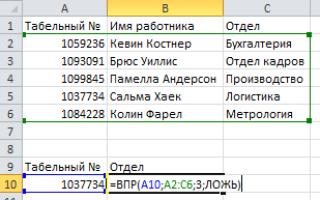 Функция подстановки данных в excel