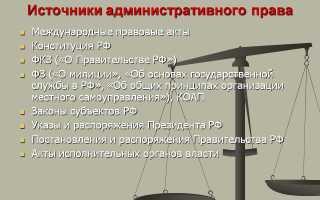Виды источников административного права с примерами