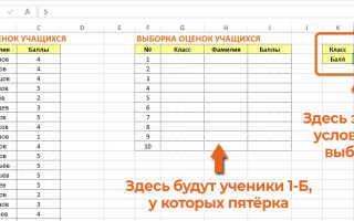 Excel выборка по нескольким условиям